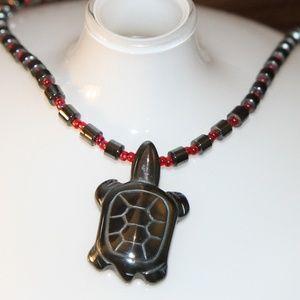 A Cute Hematite Turtle Necklace